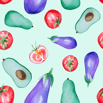 Patroon van waterverf het naadloze groenten