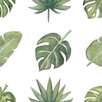 Patroon van waterverf het naadloze tropische bladeren. gebladerte digitaal papier. exotische bloemen inpakpapier. monsterablad, bananenbladeren groen plakboekpapier. hand getekende illustratie.