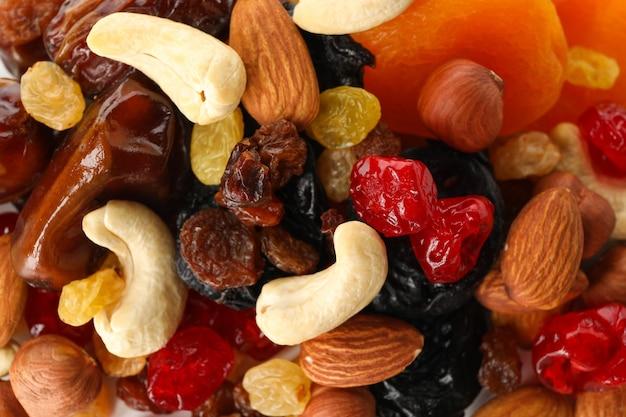 Patroondetail van noten en gedroogd fruit