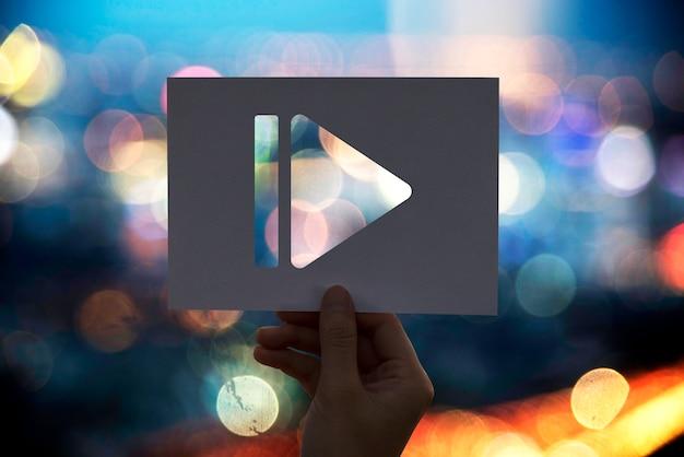 Pauzeer pictogram multimedia-amusement geperforeerd papier