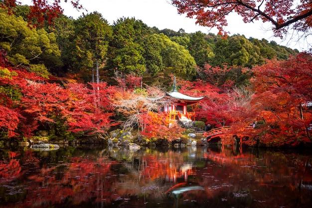 Paviljoen en beboste brug in daigoji-tempel met de herfstachtergrond