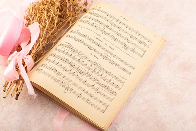 Peganum harmala plant met roze strik en muzieknoten schrift op de roze tafel plant foto kleur muziek