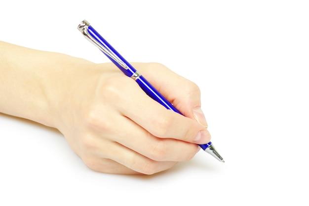 Pen in een hand