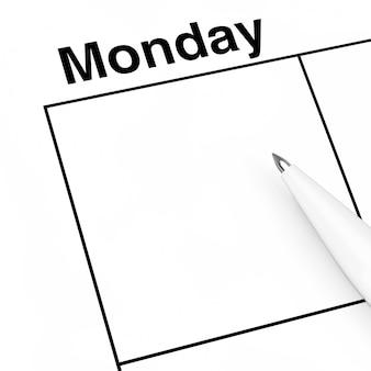 Pen over maandag calendar scheduler cell met lege ruimte voor uw ontwerp extreme close-up. 3d-rendering