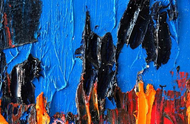 Penseelstreek kleurrijke kunst op canvas abstracte achtergrond en geweven.