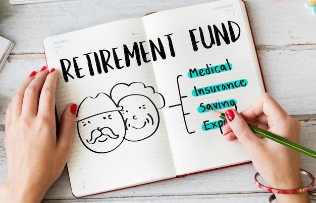 Pensioen financieel plan risicobeoordeling senior concept