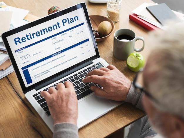 Pensioen plan financiële investering aanvraagformulier concept