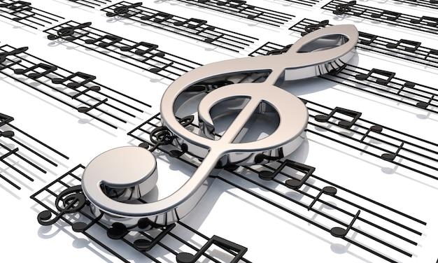 Pentagram met glanzende muzieknoten.