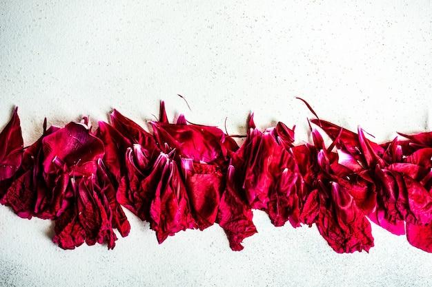 Peony bloemblaadjes op betonnen tafel als achtergrond