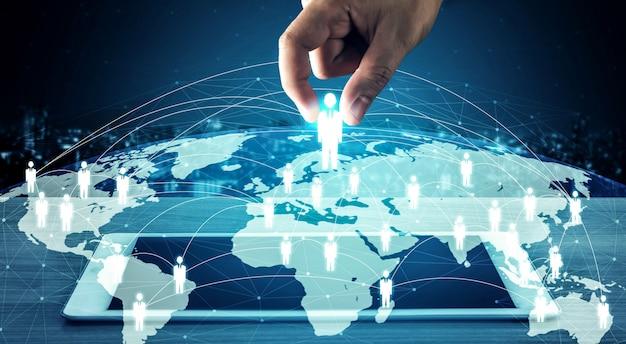 People-netwerk, human resources en crm-concept voor klantrelatiebeheer