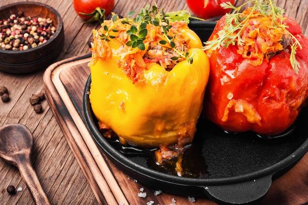 Peper gevuld met vlees
