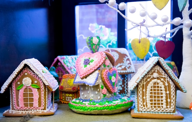 Peperkoek huisjes vrolijk kerstfeest