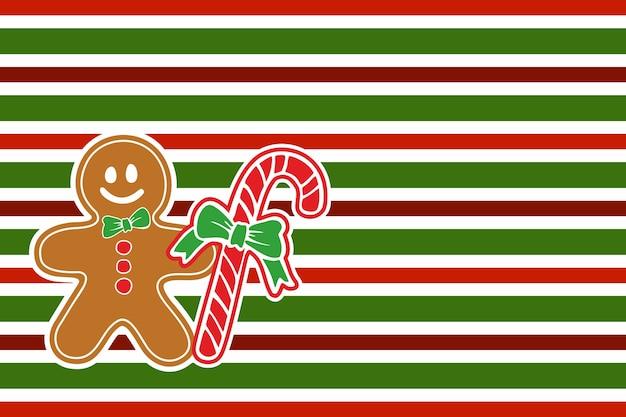 Peperkoek met kerst snoep op gestreepte inpakpapier achtergrond. patroon in kerstkleuren