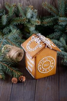 Peperkoekhuis met kerstmisachtergrond