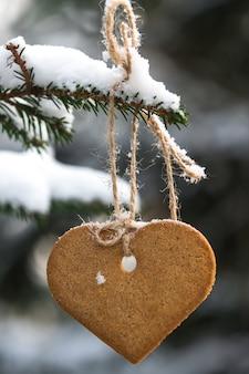 Peperkoekkoekje het hangen op een nette tak. winter dag.