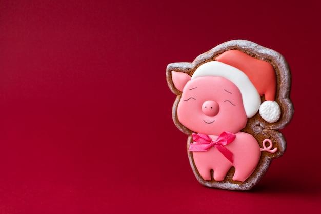 Peperkoekkoekje van leuk roze varken op rode achtergrond.