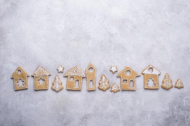 Peperkoekkoekjes in de vorm van huisjes