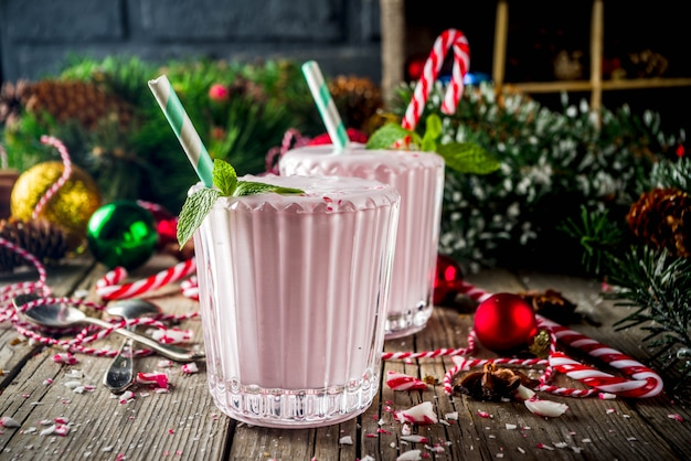 Pepermunt candy cane ice milkshake