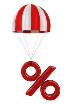 Percentage en parachute op witte ruimte
