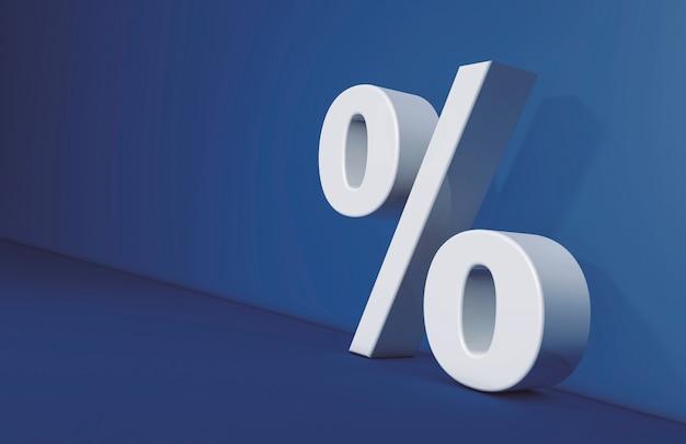 Percentage teken op blauwe achtergrond, zaken en rekeningen concept