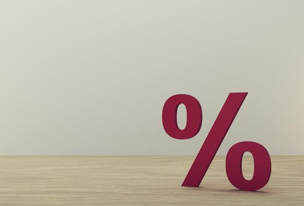 Percentage teken symbool pictogram rood op hout achtergrond