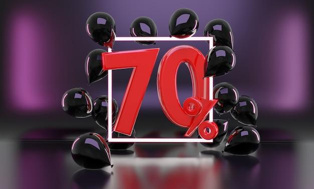 Percentage verkoop zwarte vrijdag idee in 3d-rendering