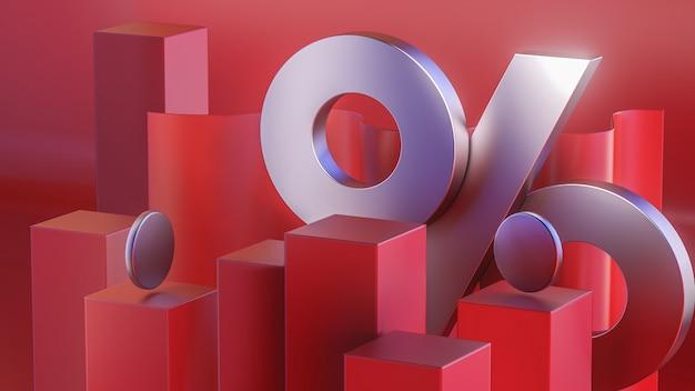 Percentagepictogram 3d op de rode achtergrond 3d illustratie