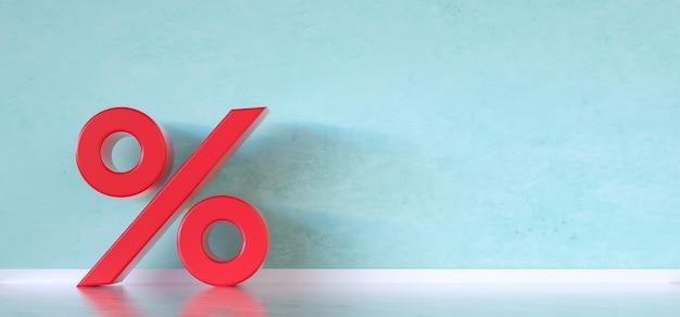 Percentagepictogram op blauwe achtergrond met kopieerruimte