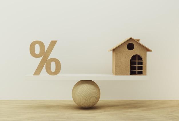 Percentagesymboolpictogram en huisschaal in gelijke positie. financieel beheer: geeft kort lenen weer voor een woning.