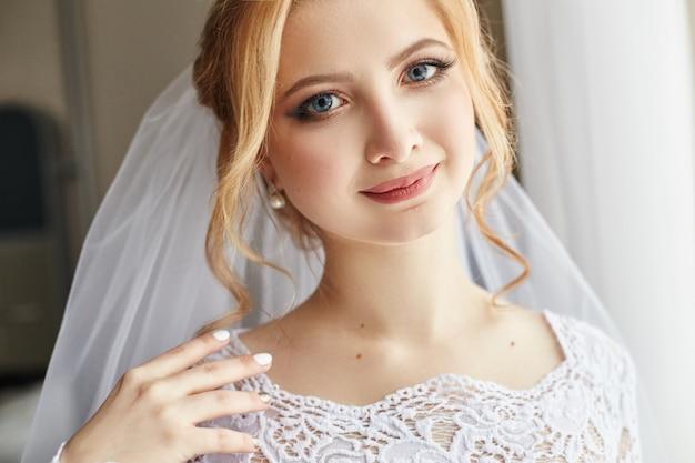 Perfecte huwelijksdag van vrouwenbruid, portret
