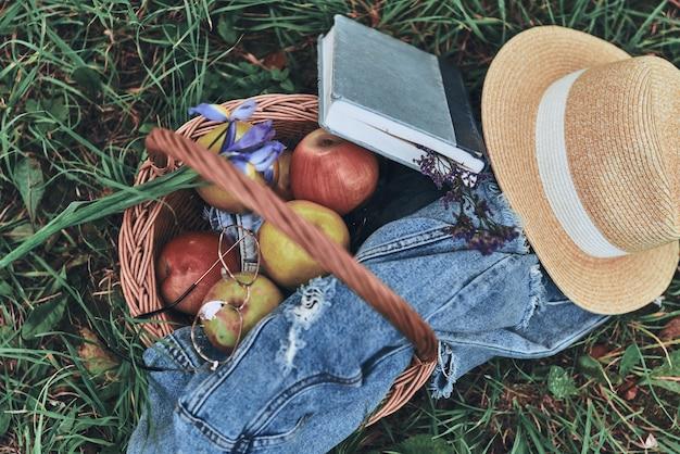 Perfecte picknick. close-up bovenaanzicht van rieten mand met appels, boek, hoed en spijkerjasje liggend op het gras buitenshuis