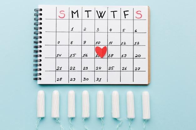 Periodekalender met tampons