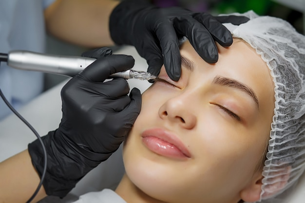 Permanente make-up eyeliner procedure