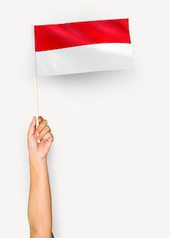 Persoon die de vlag van het prinsdom monaco zwaait