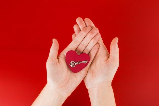 Persoon die klein hart in handen houdt
