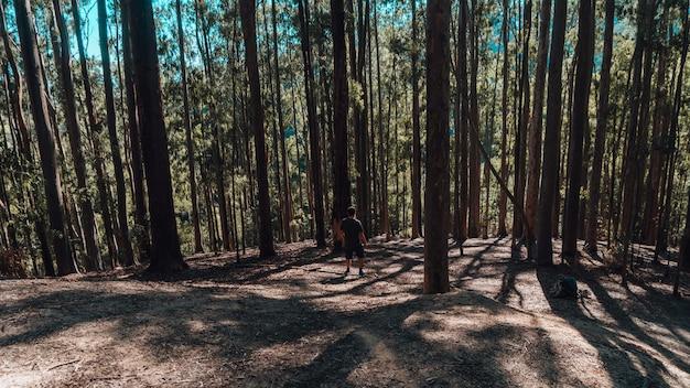 Persoon die ochtendoefeningen doet in een bos in rio de janeiro
