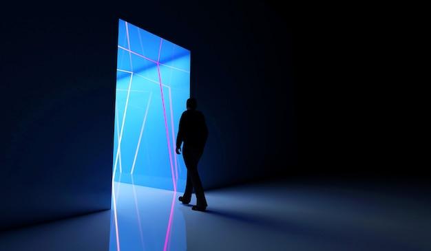 Persoon gaat naar de verlichte kleurenneontunnel met blauwe lichten