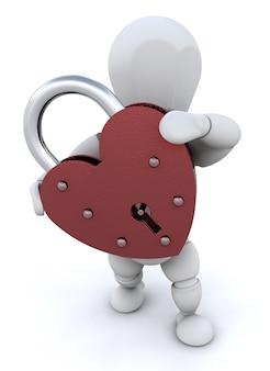 Persoon met een hartvormige hangslot