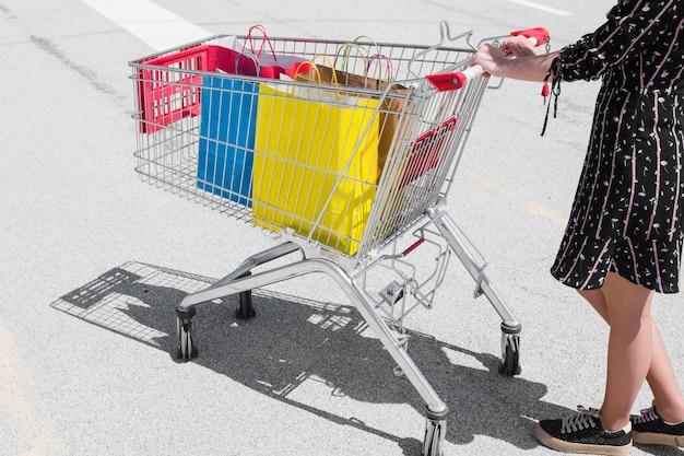 Persoon met een winkelwagentje