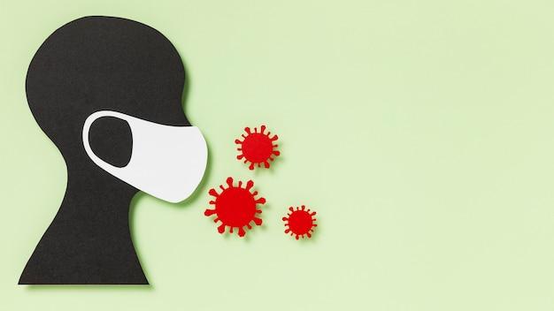 Persoon met medisch masker en coronavirusrisico