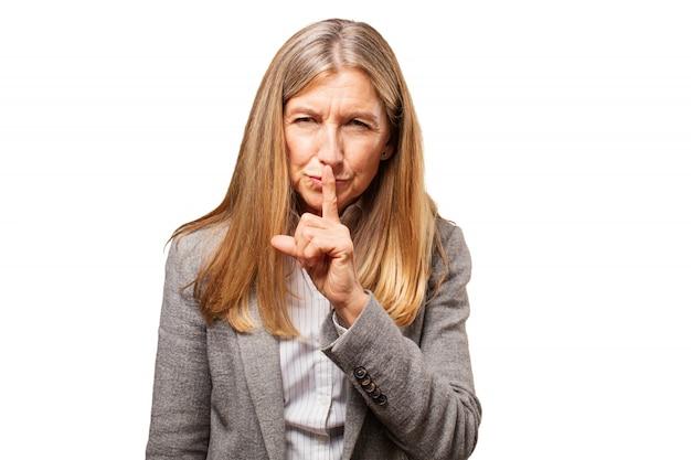 Persoon zakenvrouw zwijgen geen vrouwelijke