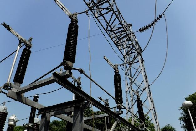 Persoonlijke beschermende aarding voor elektrische hoogspanningslijnen bij startstructuur in onderstation