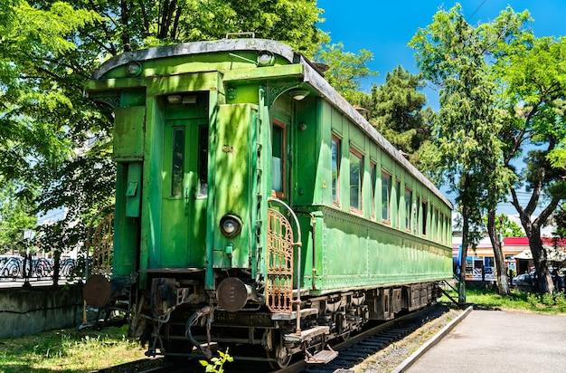 Persoonlijke groene gepantserde treinwagon van joseph stalin in zijn geboorteplaats gori, georgia