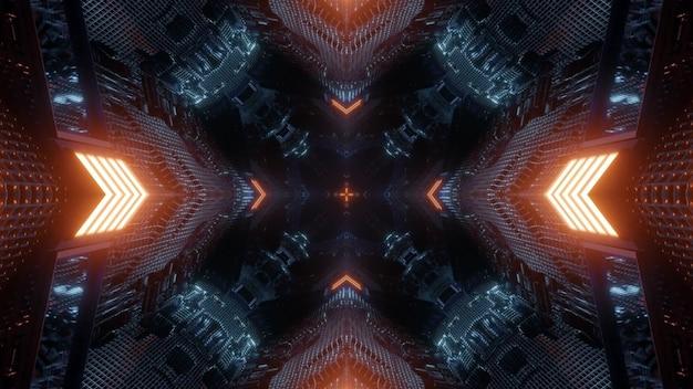 Perspectief 3d illustratie abstracte achtergrond met gloeiende rode neon pijlen die aangeven naar donkere eindeloze ruimte met futuristisch design