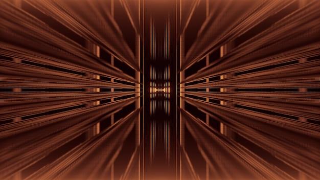 Perspectief abstracte 3d illustratie van symmetrische eindeloze tunnel gemaakt door bruine balken op zwarte achtergrond