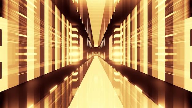 Perspectief dynamische 3d illustratie gevormd door felle neon gele lichten en geometrische vormen
