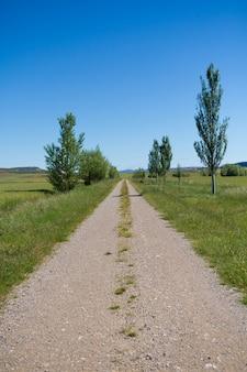 Perspectief van een lange weg om te reizen standvastigheid en prestaties