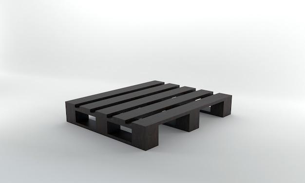 Perspectief weergave donker houten pallet 3d render
