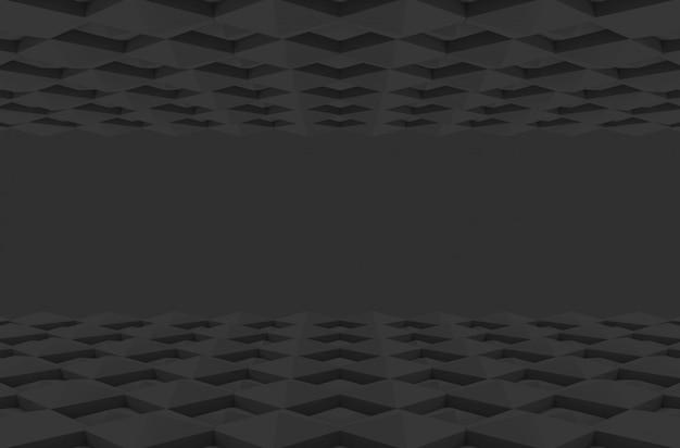Perspectief weergave van donkere vierkante raster vorm patroon ontwerp vloer muur