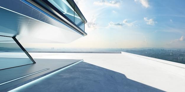 Perspectief zicht op lege cementvloer met staal en glas modern gebouw buitenkant. ochtendscène. fotorealistische 3d-weergave.